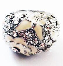 USA RING Rhinestone Crystal Fashion Gemstone Silver White SIZE-8 QUEEN