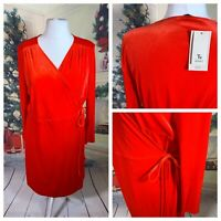 TU WOMAN Ladies Red Dress Size 18 Velvet Wrap Stretchy Christmas New Year NWT