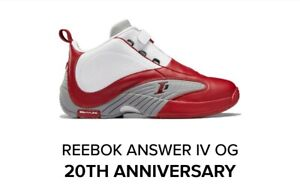 Reebok Answer IV 4 White Red 20th Anniversary Size 11.5 DEADSTOCK