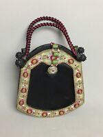 Unique Evening Black Purse Metal Frame & Handle 3D Jade Red Ornate Magnetic Snap