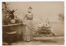 PHOTO ANCIENNE Enfant Charrette Landau Vers 1900 Child Femme Petite Carriole
