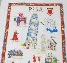 Cotton Tea Towel Pisa Italy Souvenir Points of Interest Named and in Color
