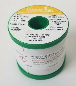 52276-0113 Indium Solder Lead Free SAC305 0.015/'/' 1.8-2.5/% 1//2LB Two Spools