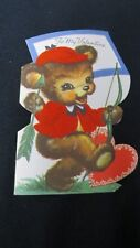Vintage Dressed Bear Archery Valentine Card c. 1950s Whitman