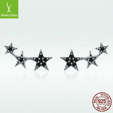 925 Sterling Silver Stud Earrings Shining Stars Mysterious Black CZ Lady Jewelry