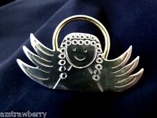 Plate Halo Pin Brooch or Pendant Handcrafted Sterling Silver 925 Angel With Gold