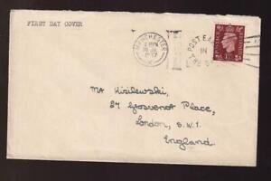 GB FDC 1937 sc#237 KGVI 1½d, Manchester to London, slogan cancel