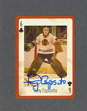 Tony Esposito signed Chicago Blackhawks six of clubs Playing card