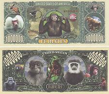 Two Monkey Primates Animal Novelty Money Bills # 214