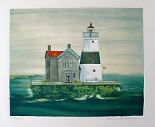 "MARY FAULCONER ""EXECUTION ROCK"" Hand Signed Lithograph with Lighthouse"