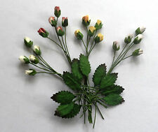 MINI/TINY  PAPER ROSE BUDS x20 & 10 LEAVES ON STEMS... 30 PIECES IN ALL