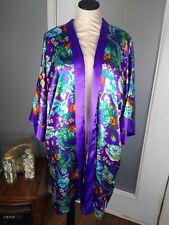 Vtg Victoria Secret O/S Kimono Robe Satin Purple Floral Gold Label Pockets