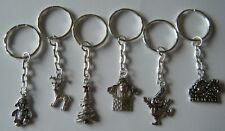 6 CHRISTMAS KEYRINGS PARTY GIFTS STOCKING FILLER CRACKER PRIZES FAIRS FETES