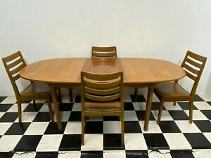 Vintage mid century Nathan teak extending dining table and 4x chairs - Delivery
