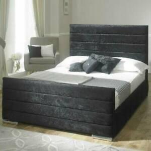 LINEAR ZARA PLUSH VELVET UPHOLSTERED BED FRAME - VARIOUS COLOURS