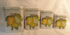 Cossa Italy 4 Vintage Pottery Canisters with Lids Hand Painted Lemons REDUCED!