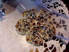 "Honey AB Rhinestone Sparkle Flower Brooch Pin 2 1/2"""