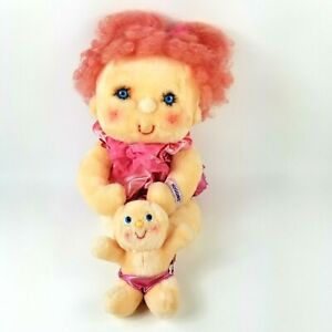 Vintage 1985 Hugga Bunch Doll Huggins & Baby Hug A Bye w/ Pink Outfit Kenner