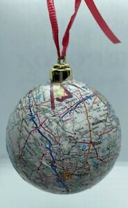 HANDMADE: STATE OF FLORIDA CHRISTMAS ORNAMENT WITH MAJOR CITIES AND MAP!