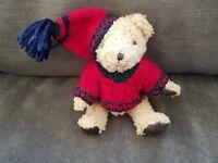 Hugfun 1998 Jointed Plush Teddy Bear 7.5 Inch Knit Sweater Hat