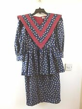 Unbranded true vintage 80s statement spotty peplum dress  size XS/S