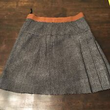 D&G Dolce & Gabbana Glen Plaid Pleated A-Line Skirt Size 42
