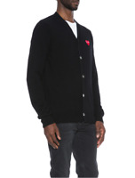 New Garcons Mens Sweater Cardigan Play Comme Black Heart Black V Collar