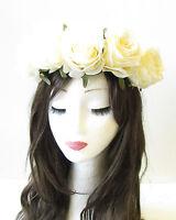 Large Ivory Cream Rose Flower Headband Garland Hair Crown Festival Boho Big 1371