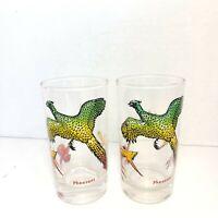 Vintage Glassware 2 Pheasant Game Bird Drinkware Glasses  Federal Glass 1950s