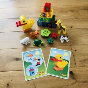 LEGO DUPLO Animals/Zoo Figures, Duck, Table, Flowers & Number Blocks Set & Cards