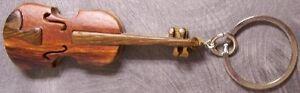 Intarsia Solid Wood Key Ring Music Instrument Violin NEW