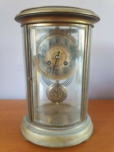 *As Found* Antique 4 Glass & Brass Oval Mantel Clock with Military Plaque Inside