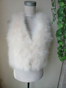 Real Ostrich Feather Fur Vest Jacket Warm Waistcoat Handmade Fluffy Creamy White