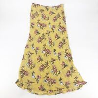 Know One Cares Floral Print Midi Skirt Yellow S