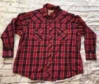 Wrangler Western Red Black Plaid Long Sleeve Pearl Snap Shirt Men's Size XXL