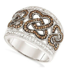 Chocolate Brown & White Diamond Heart Ring 10K White Gold Diamond Band .51ct