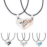 Men Women Lover Couple Necklace I Love You Heart Pendant Stainless Steel FG