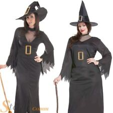 Ladies Long Black Witch Halloween Horror Fancy Dress Costume Outfit & Hat
