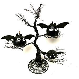 Halloween Black Tree With Hand Made Colony Of Pumpkin Bats OOAK