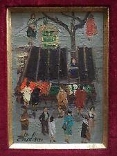 Rare Petit Tableau Huile Miniature Paysage Marché NATHALIE CHABRIER Art Naïf