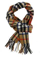 Thompson Camel tartan lambswool scarf.