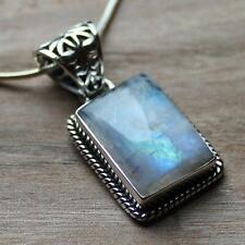 925 Solid Sterling Silver Semi-Precious Rainbow Moonstone Natural Stone Pendant