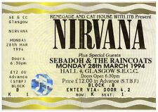 Nirvana Original Concert Ticket From 28 March 1994