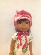 Wellie Wishers Pink flower ear flap Hat beanie cap winter 14 doll clothes outfit