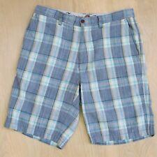 Tommy Bahama Linen Silk Blue Plaid 10'' Shorts Paradise Nation Size 32