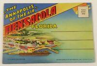 VTG Old Linen Era Fold Out Envelope Postcard Souvenir Set Pensacola Florida FL