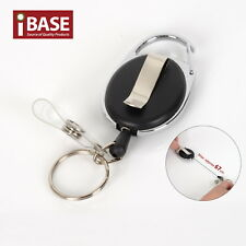 Recoil Key Ring Retractable Chain ID Pull Holder Reel Belt Clip Extend Black