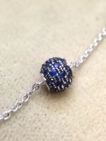 French Sparkly! Sapphire Yellow Gold Globe Sphere Pave Ball Pendant Bracelet