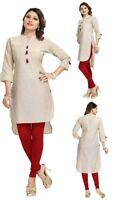 UK STOCK Women Fashion Indian Cotton Tunic Kurta Top Shirt Dress SC724 Beige