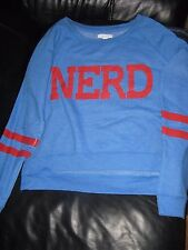 Delia's sweatshirt NERD hi low crewneck juniors women's size Medium blue